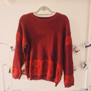 TOPMAN burgundy sweater with patterned details